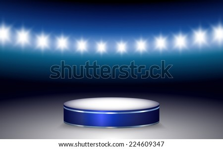 Vector illustration of Ramp with illuminated podium and stadium lights - stock vector