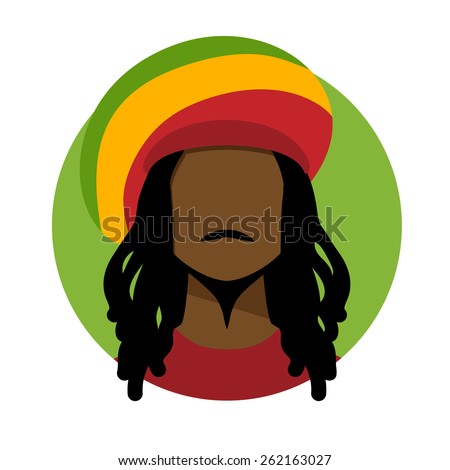 Vector illustration of rastafarian man. - stock vector