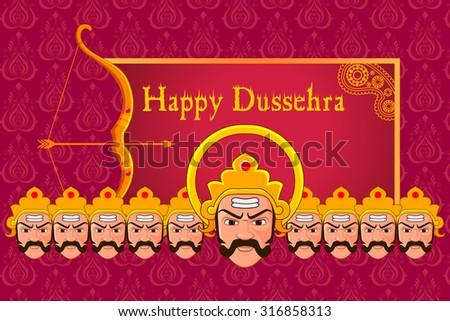 vector illustration of Ravana in Happy Dussehra - stock vector