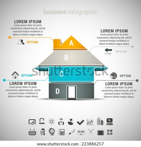 Vector illustration of real estate infographic with house. EPS10.  - stock vector