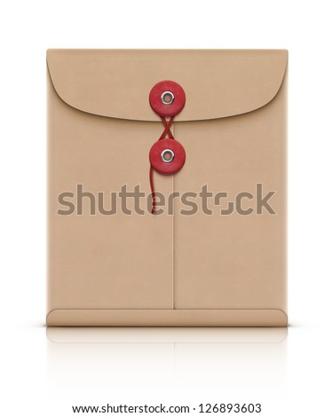 Vector illustration of realistic manila envelope isolated on a white background - stock vector