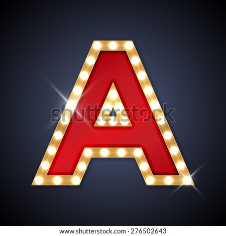 Vector illustration of realistic retro signboard letter A. Part of alphabet including special European letters. - stock vector