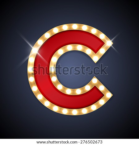 Vector illustration of realistic retro signboard letter C. Part of alphabet including special European letters. - stock vector