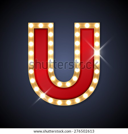 Vector illustration of realistic retro signboard letter U. Part of alphabet including special European letters. - stock vector