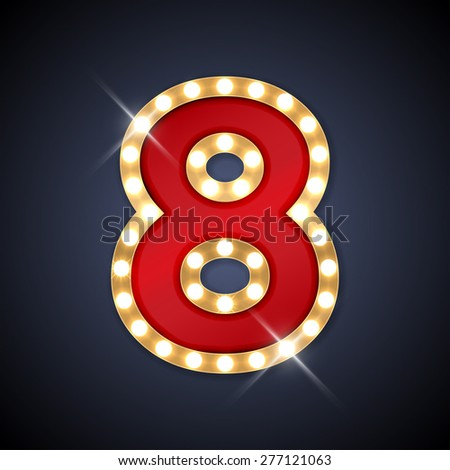 Vector illustration of realistic retro signboard number 8 (eight). Part of alphabet including special European letters. - stock vector