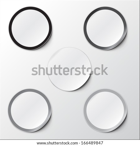 Vector illustration of Realistic Round Stickers or Notes. With peeled off corner and shadow. Place for your text. EPS 10. Black and white set. - stock vector