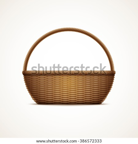 Vector illustration of realistic wicker basket. Elements are layered separately in vector file. CMYK color mode, print ready. - stock vector