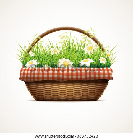 Vector illustration of realistic wicker basket. Grass and daisy flowers in wicker basket. Elements are layered separately in vector file. - stock vector