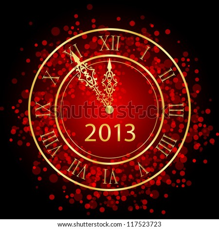 Vector illustration of red and gold New Year clock - stock vector