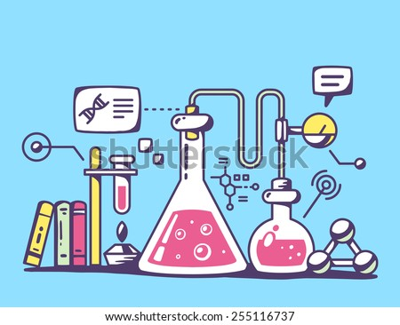 Vector illustration of red and yellow chemical laboratory flasks on blue background. Bright color line art design for web, site, advertising, banner, flyer, poster, board and print. - stock vector