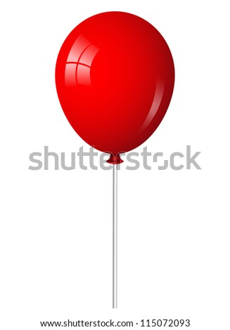 Vector illustration of red balloon on stick - stock vector