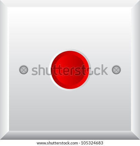 Vector illustration of red button - stock vector