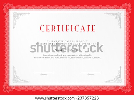 Vector illustration of red detailed certificate - stock vector