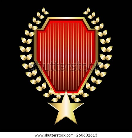 Vector illustration of Red - gold award with star and laurel wreath. - stock vector