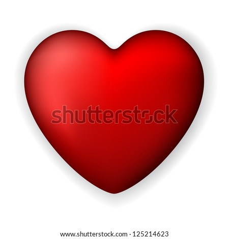 Vector illustration of red heart. eps 10. Classical smooth style. - stock vector