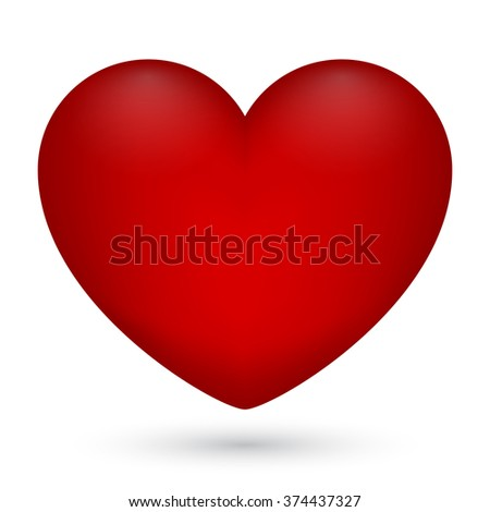 Vector illustration of red heart on white background for Valentine's Day. - stock vector