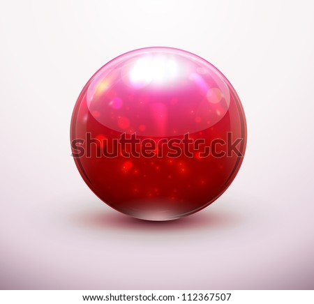 Vector illustration of red refracting Glass marbles/button sphere - stock vector