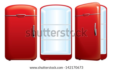 vector illustration of red refrigerator - stock vector