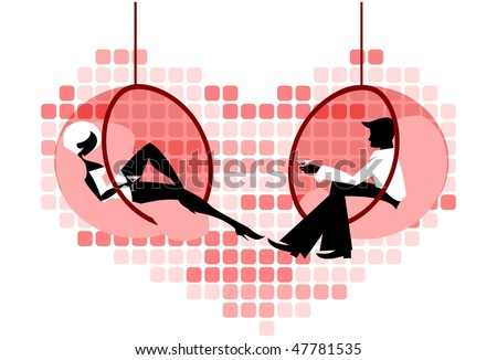 Vector illustration of red retro theme: man and woman are flirting relaxing with cocktails in glass suspended chairs. - stock vector