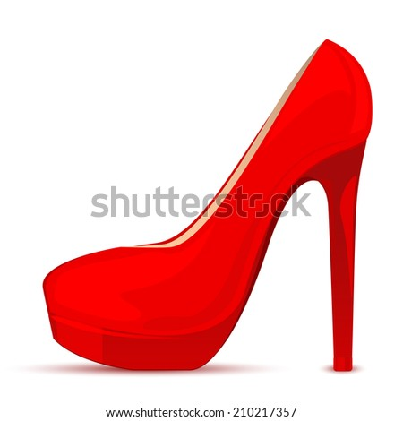 Vector illustration of red shoe - stock vector