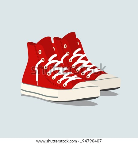 Vector illustration of red sneakers - stock vector