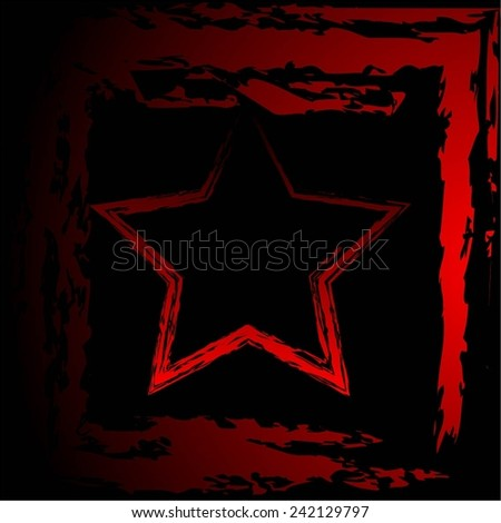 Vector illustration of   Red star. Black - red background. Abstract. - stock vector