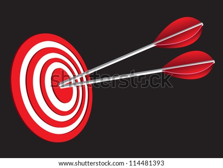 Vector illustration of  red target board with two arrows. - stock vector