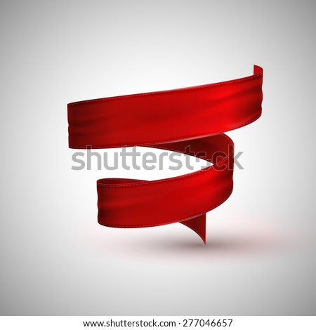 vector illustration of red textile ribbon. decorative element for design. - stock vector