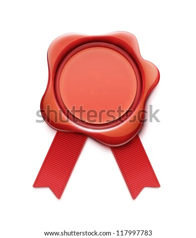 Vector illustration of red wax seal with ribbons and copy space for your own text and images - stock vector