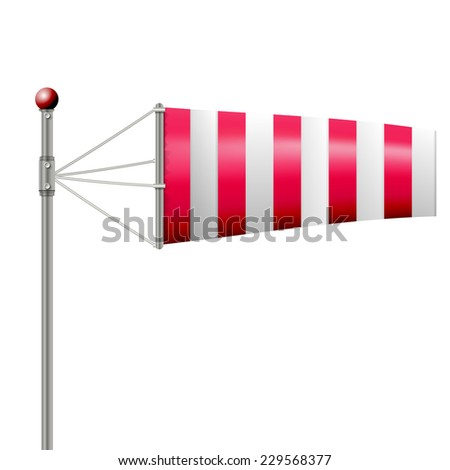 Vector illustration of red windsock. Single red striped windsock by wind. Isolated vector illustration on white. - stock vector