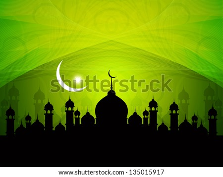 vector illustration of religious green color eid background design with mosque. - stock vector