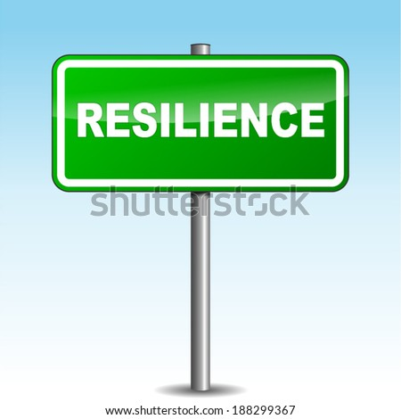 Vector illustration of resilience signpost on sky background - stock vector
