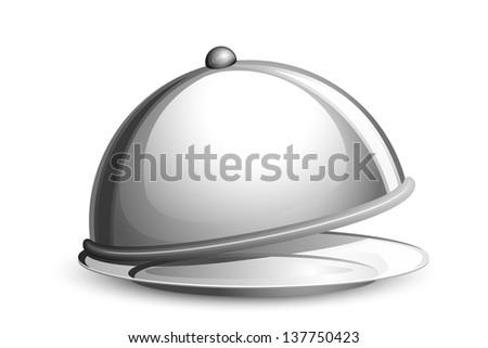 vector illustration of restaurant cloche against white - stock vector
