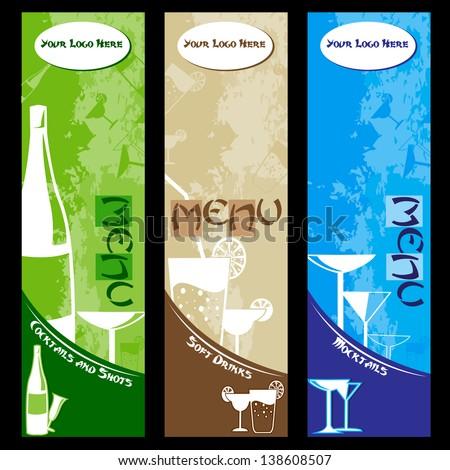 vector illustration of restaurant wine bar menu design - stock vector