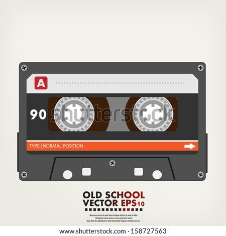 Vector illustration of retro audio cassette tape - stock vector