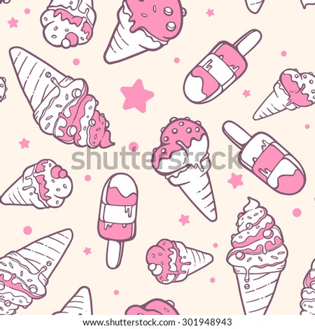 Vector illustration of retro color pattern of pink ice creams on yellow background with stars and dots. Hand drawn line art design for web, site, advertising, banner, poster, board and print.   - stock vector