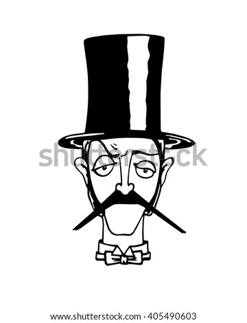 Vector illustration of retro male character. A head of elegant gentleman with mustache, bow tie and cylinder. Ink drawing, graphic style. - stock vector
