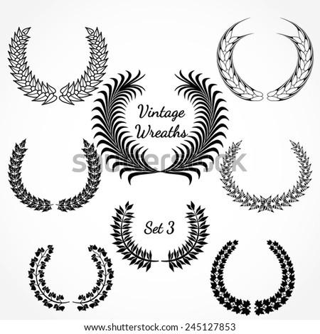 Vector Illustration of Retro Wreath for Design, Website, Background Banner. Vintage Element Template for Logo or Label or Emblem. Black and White - stock vector