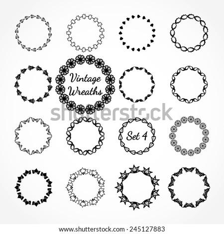 Vector Illustration of Retro Wreaths for Design, Website, Background Banner. Vintage Element Template for Logo or Label or Emblem. Black and White - stock vector
