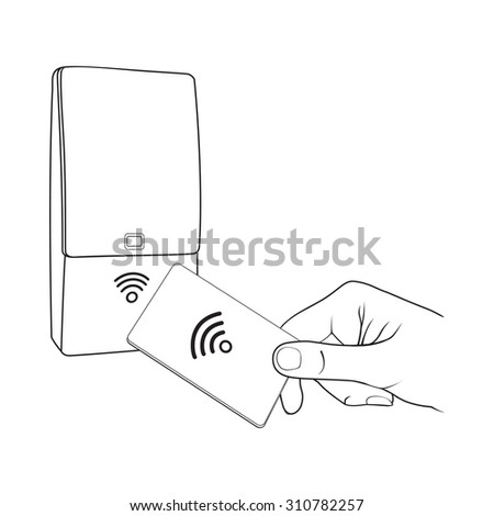 Vector illustration of RFID device and card holding in hand - stock vector