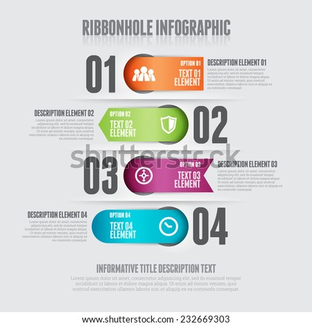 Vector illustration of ribbon hole infographic design element. - stock vector