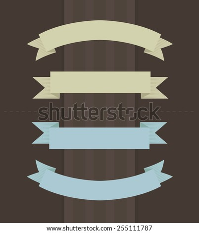 Vector illustration of ribbons in vintage colors on brown background  - stock vector