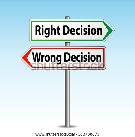 Vector illustration of right and wrong decision arrows signs - stock vector