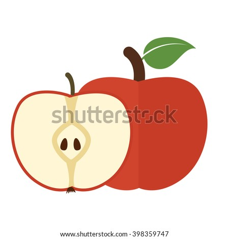 Vector illustration of ripe apple fruit and slices on a white background.  - stock vector
