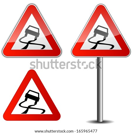 Vector illustration of roadsign for slippery road - stock vector