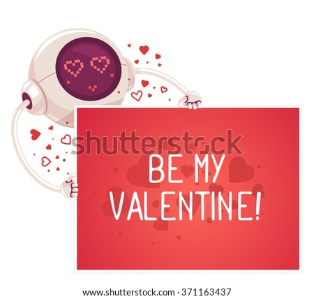 Vector illustration of robot holding red card with inscription on white background. Art design for Valentine's Day greetings and card, web, banner, poster, flyer, brochure, print.   - stock vector