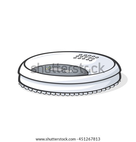 Vector illustration of robot vacuum cleaner isolated on white background. - stock vector