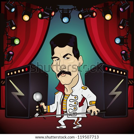 Vector illustration of rock star performing on stage - stock vector