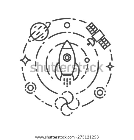 Vector illustration of rocket flying in space. Start up and science concept - stock vector