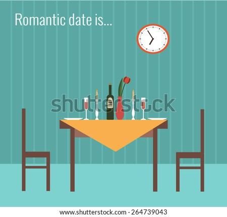 Vector illustration of romantic date made in flat style  - stock vector